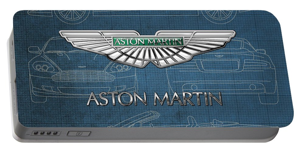 Wheels Of Fortune By Serge Averbukh Portable Battery Charger featuring the photograph Aston Martin 3 D Badge over Aston Martin D B 9 Blueprint by Serge Averbukh