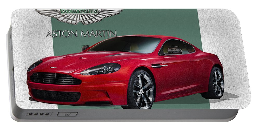 �aston Martin� By Serge Averbukh Portable Battery Charger featuring the photograph Aston Martin D B S V 12 with 3 D Badge by Serge Averbukh