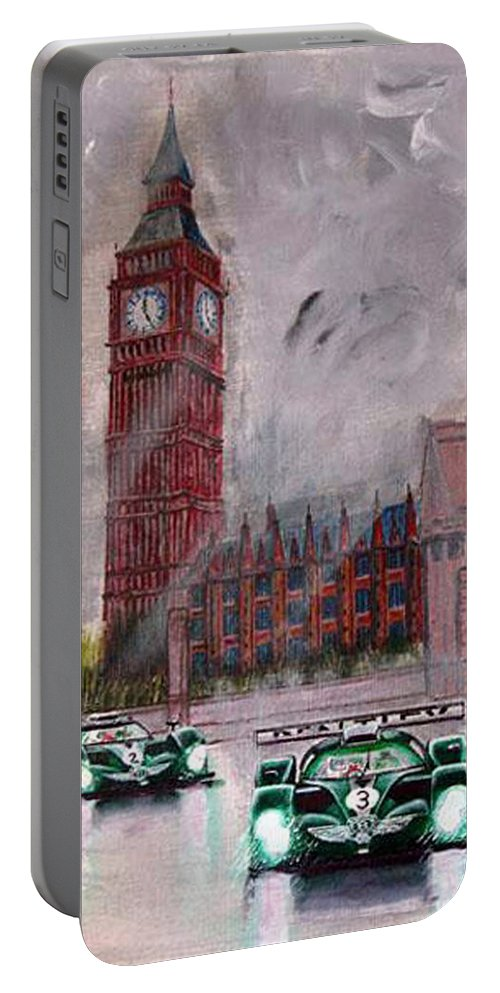 Aston Martin Portable Battery Charger featuring the painting Aston Martin Racing In London by Richard Le Page