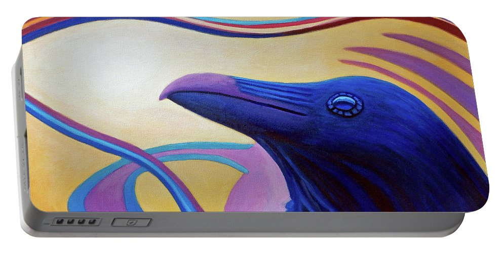Raven Portable Battery Charger featuring the painting Astral Raven by Brian Commerford
