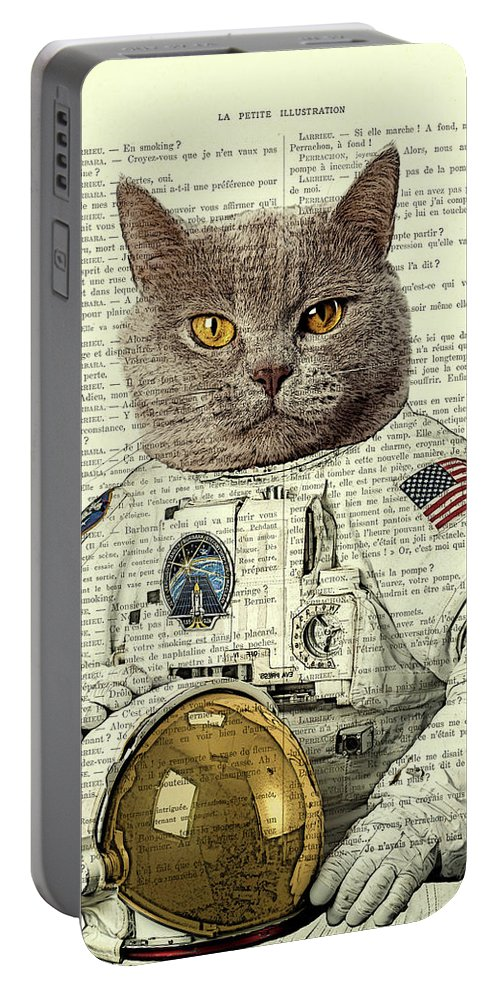 Astronaut Portable Battery Charger featuring the digital art Astronaut Cat Illustration by Madame Memento