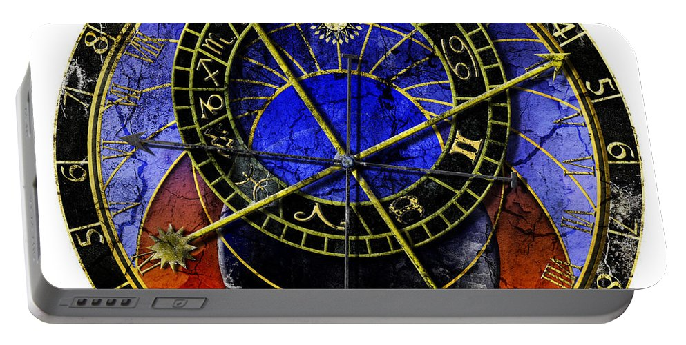 Grunge Portable Battery Charger featuring the digital art Astronomical Clock In Grunge Style by Michal Boubin