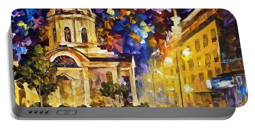 Art Gallery Portable Battery Charger featuring the painting Asuncion Paraguay - Palette Knife Oil Painting On Canvas By Leonid Afremov by Leonid Afremov