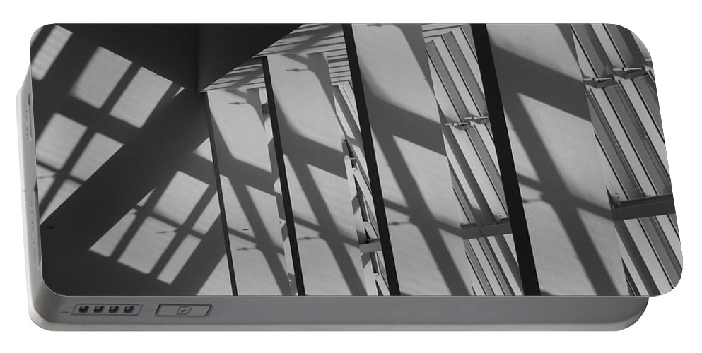 Shades Portable Battery Charger featuring the photograph Asylum Windows by Rob Hans