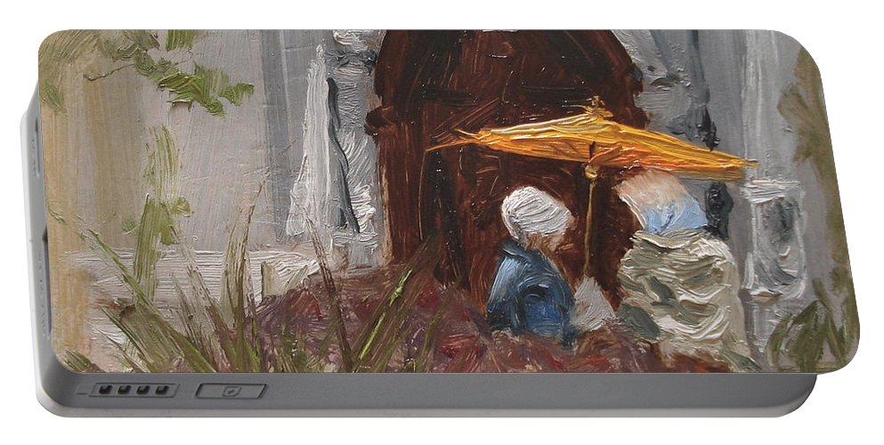 Parks Portable Battery Charger featuring the painting At Balboa Park by Barbara Andolsek