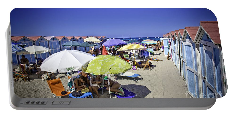 Mondello Beach Portable Battery Charger featuring the photograph At Mondello Beach - Sicily by Madeline Ellis