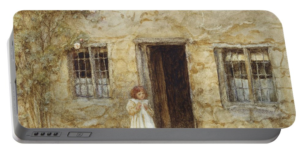 Exterior; Door; Child; Children; Girl; Victorian; C19th; C20th; Toddler; Climbing; Rose Portable Battery Charger featuring the painting At The Cottage Door by Helen Allingham