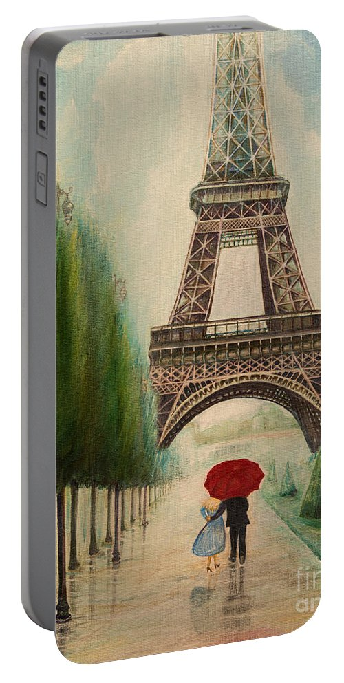 Eiffel Tower Portable Battery Charger featuring the painting At The Eiffel Tower by Zina Stromberg