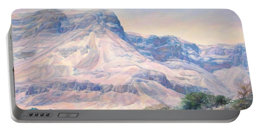 Iudejskie Mountains Portable Battery Charger featuring the painting At The Foot Of Mountains by Maya Bukhina