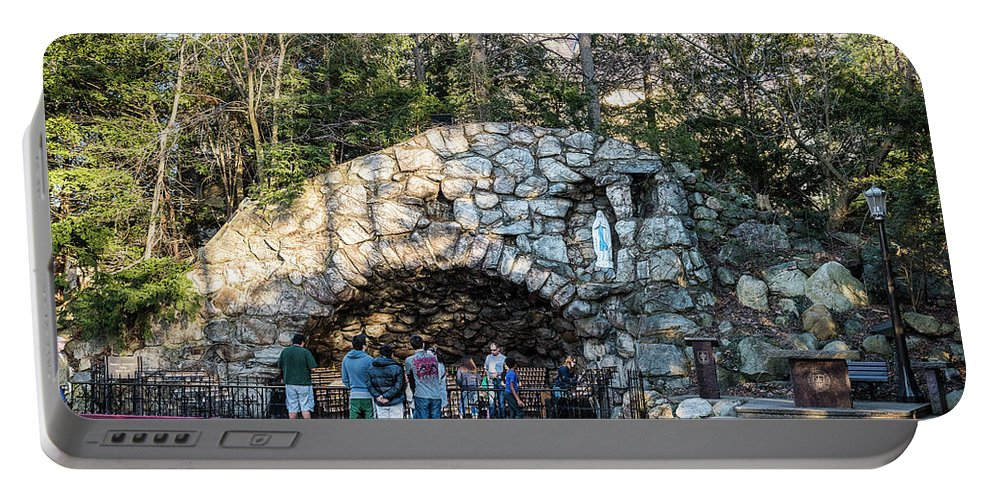 Religion Portable Battery Charger featuring the photograph At The Grotto by Douglas Neumann