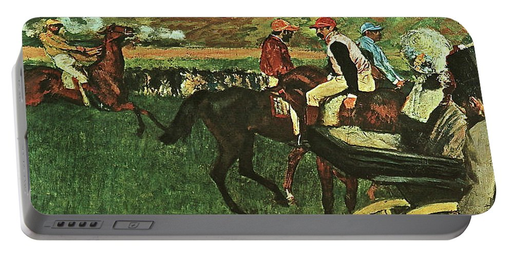 At The Races Portable Battery Charger featuring the painting At The Races, Digitally Enhanced, Edgar Degas, Digitally Enhanced Maximum Resolution by Thomas Pollart