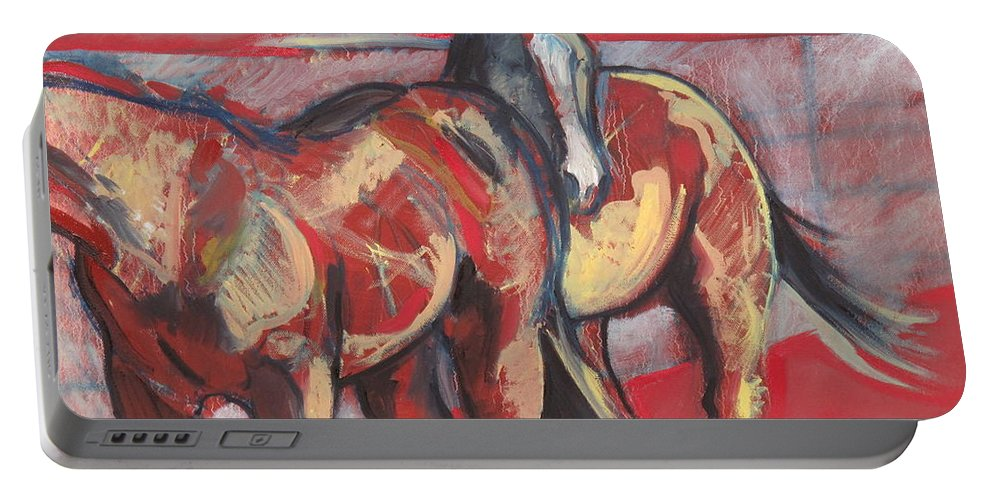 Horse Portable Battery Charger featuring the painting At The Races by Idie Karr