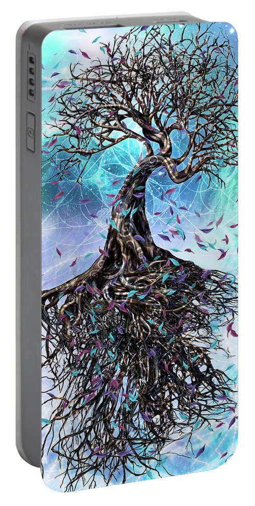 Tree Portable Battery Charger featuring the mixed media At the Root of All Things by Chris Cole
