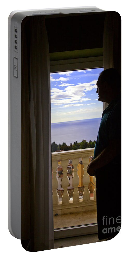 Window Portable Battery Charger featuring the photograph At The Window In Taormina by Madeline Ellis
