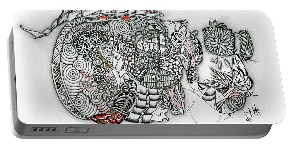 Surreal Portable Battery Charger featuring the drawing Atardeciendo - Evening by Carlos Cano - Grindilu