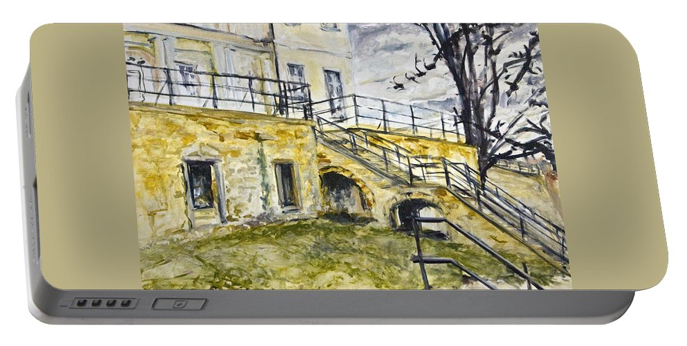 Landscape Portable Battery Charger featuring the painting Atelier by Pablo de Choros
