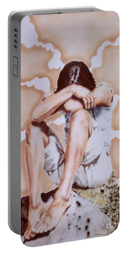 Portrait Portable Battery Charger featuring the painting Athabaskan Girl On A Rock by Ron Bissett