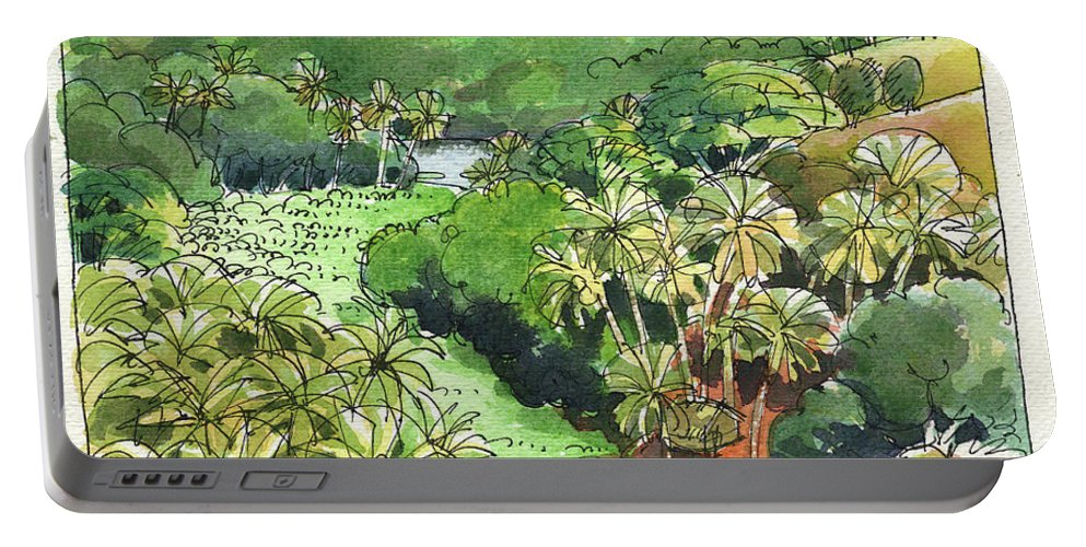 Atiu Portable Battery Charger featuring the painting Atiu Lake View by Judith Kunzle