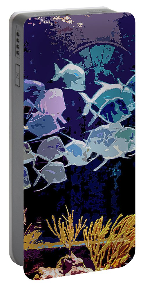 Bahamas Portable Battery Charger featuring the digital art Atlantis Aquarium by DigiArt Diaries by Vicky B Fuller