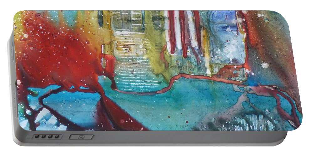 Abstract Portable Battery Charger featuring the painting Atlantis Crashing Into The Sea by Ruth Kamenev