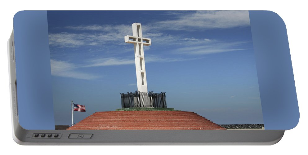 Mt Soledad Portable Battery Charger featuring the photograph Atop Mt Soledad by Margie Wildblood