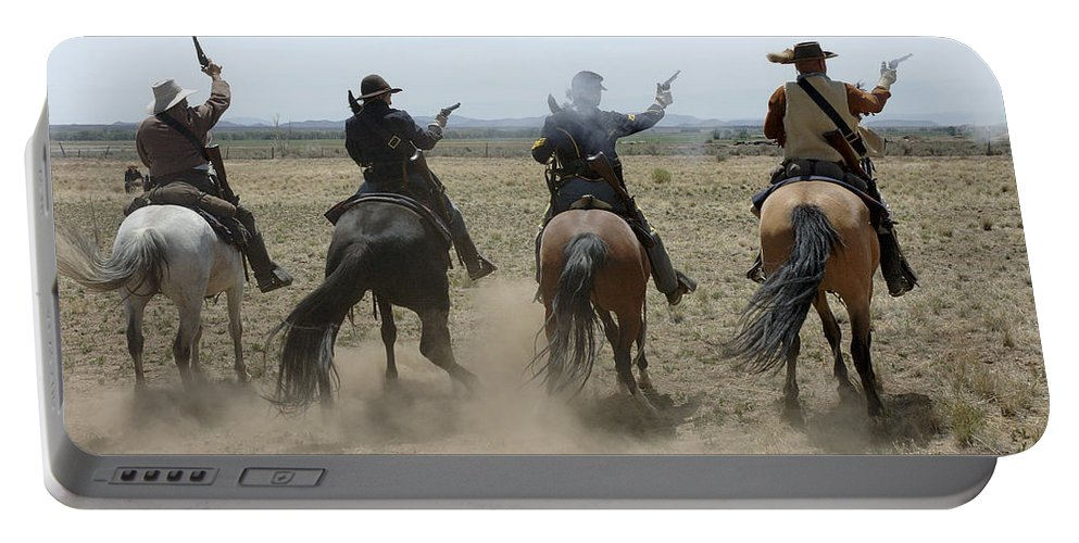 Old West Portable Battery Charger featuring the photograph Attack by Jerry McElroy