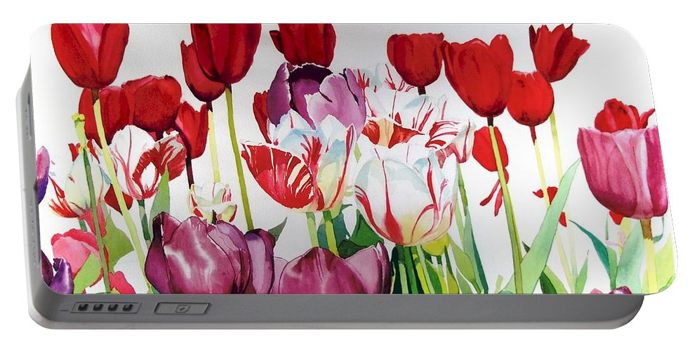 Tulips Portable Battery Charger featuring the painting Attention by Elizabeth Carr