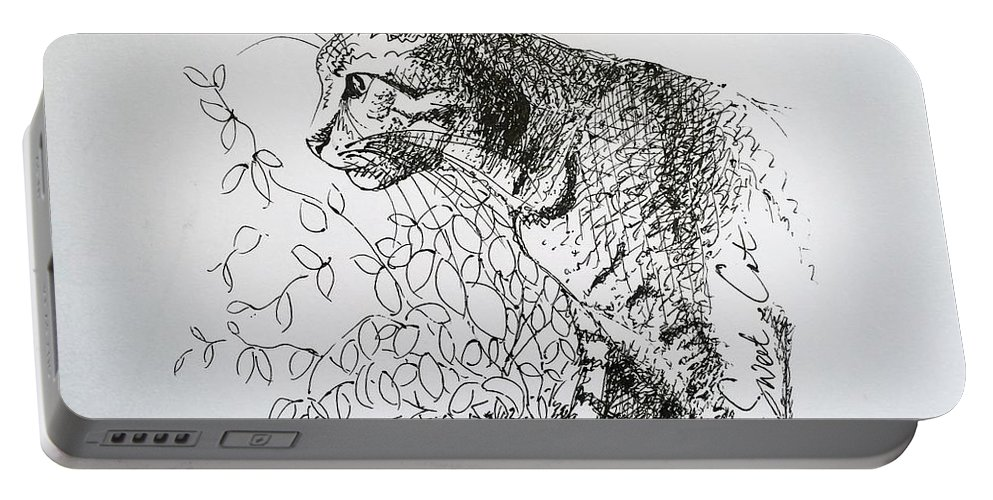 Attila Portable Battery Charger featuring the drawing Attila by Pookie Pet Portraits