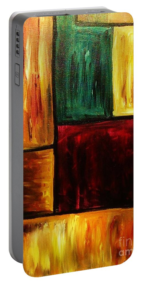 Abstract Portable Battery Charger featuring the painting Attractive by Yael VanGruber