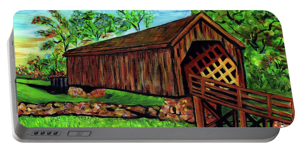 Everett Spruill Portable Battery Charger featuring the painting Auchumpkee Creek Covered Bridge by Everett Spruill