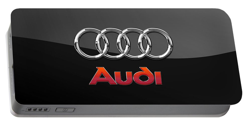 'wheels Of Fortune' Collection By Serge Averbukh Portable Battery Charger featuring the photograph Audi 3 D Badge on Black by Serge Averbukh