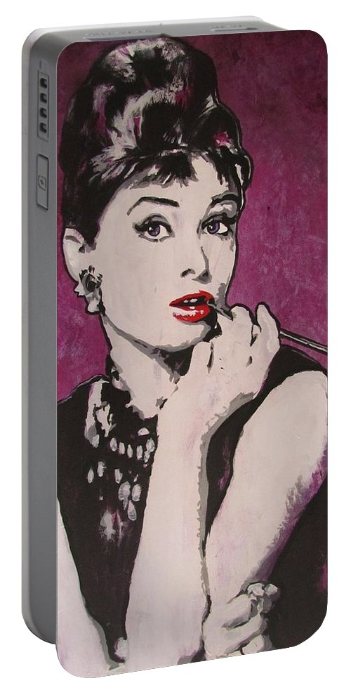 Audrey Hepburn May 4 1929 - Jan 20 1993 . Moon River. Breakfast At Tiffany's. Portable Battery Charger featuring the painting Audrey Hepburn - Breakfast by Eric Dee