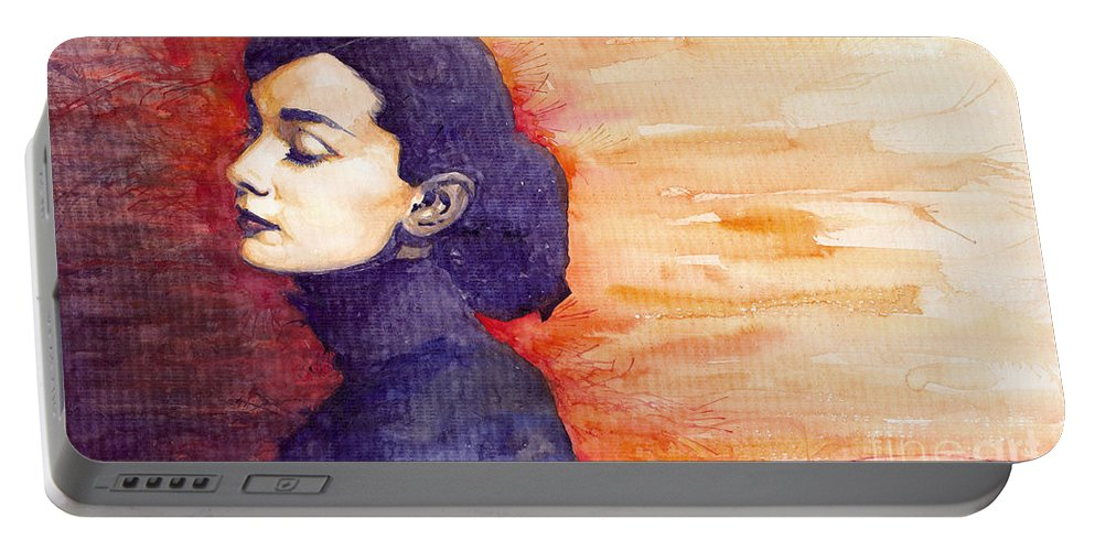 Watercolour Portable Battery Charger featuring the painting Audrey Hepburn 1 by Yuriy Shevchuk