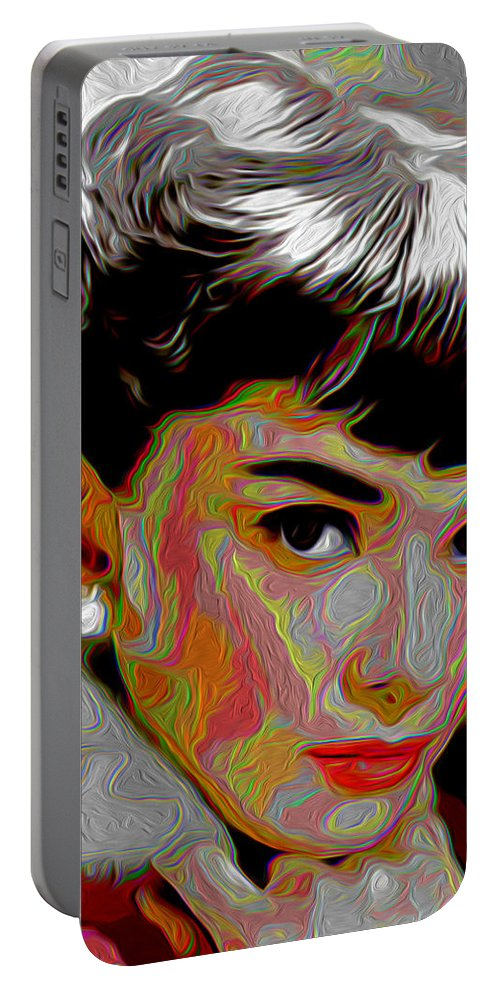 Audrey Hepburn Portable Battery Charger featuring the painting Audrey Hepburn by Fli Art