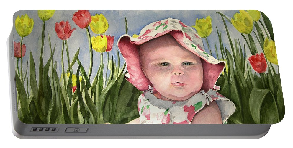Kids Portable Battery Charger featuring the painting Audrey by Sam Sidders