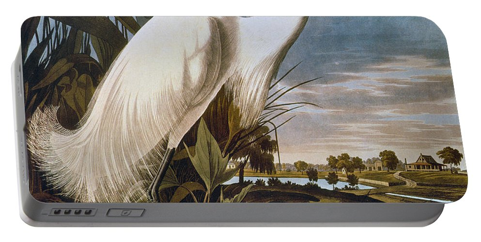 1838 Portable Battery Charger featuring the photograph Audubon: Egret by Granger