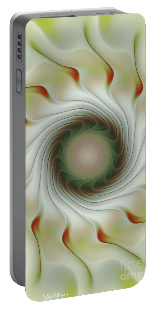 Fractal Art Portable Battery Charger featuring the digital art Auger Wheel Spin by Deborah Benoit