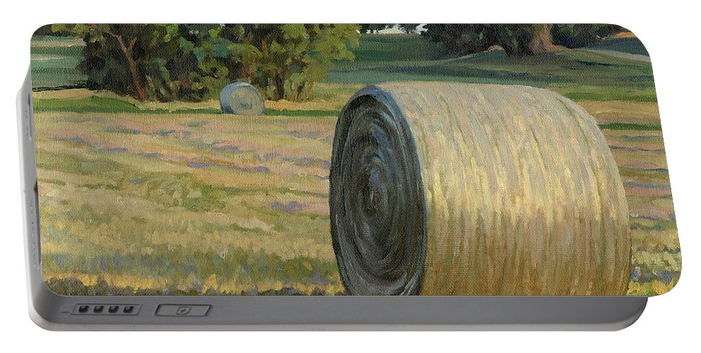 Landscape Portable Battery Charger featuring the painting August Bales by Bruce Morrison