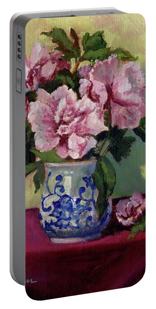Impressionism Portable Battery Charger featuring the painting August Blossoms by Keith Burgess