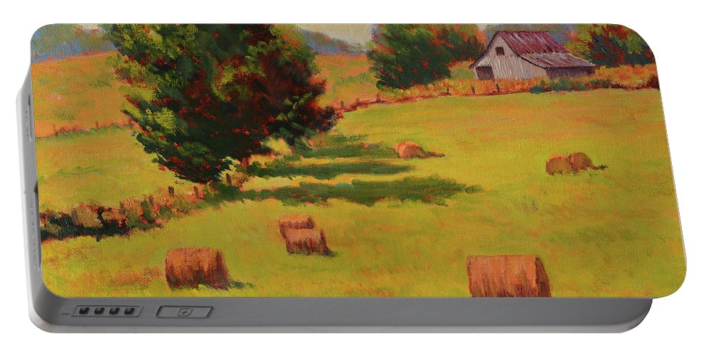 Impressionism Portable Battery Charger featuring the painting August Hay Field by Keith Burgess