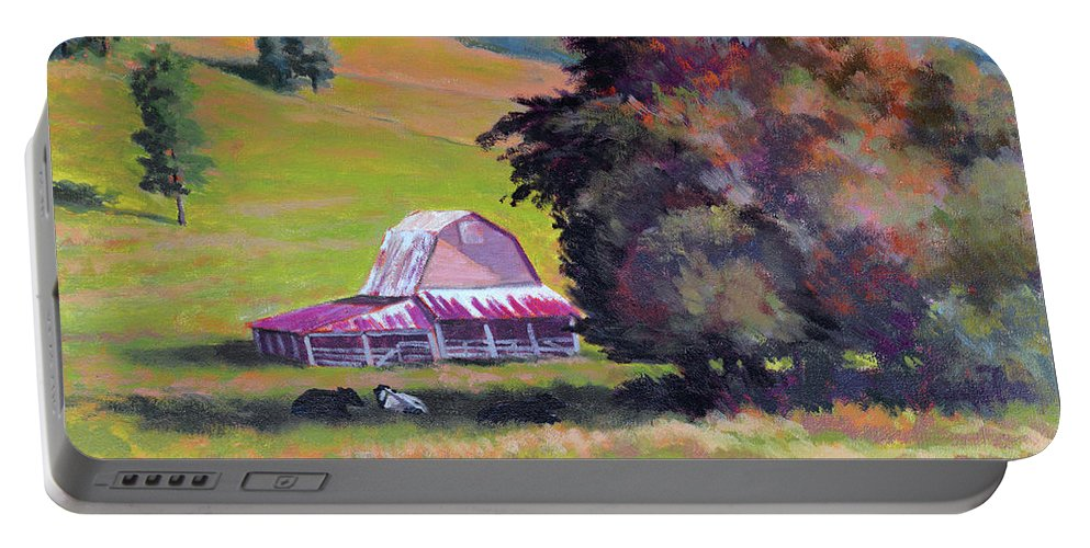 Impressionism Portable Battery Charger featuring the painting August Pastures by Keith Burgess