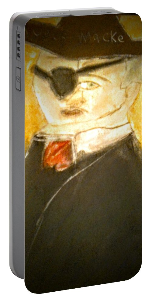 Portable Battery Charger featuring the drawing August Remake by Dalton Franks