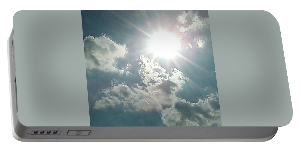 Sun Clouds August Sunshine Portable Battery Charger featuring the photograph August Sun by Cindy New