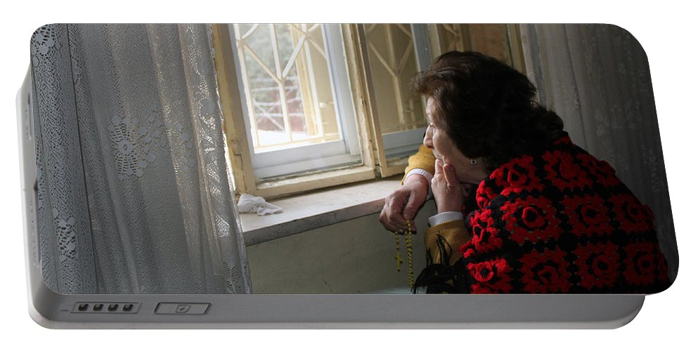 Aunt Portable Battery Charger featuring the photograph Aunt Leila - Watching Over The Neigbourhood by Munir Alawi