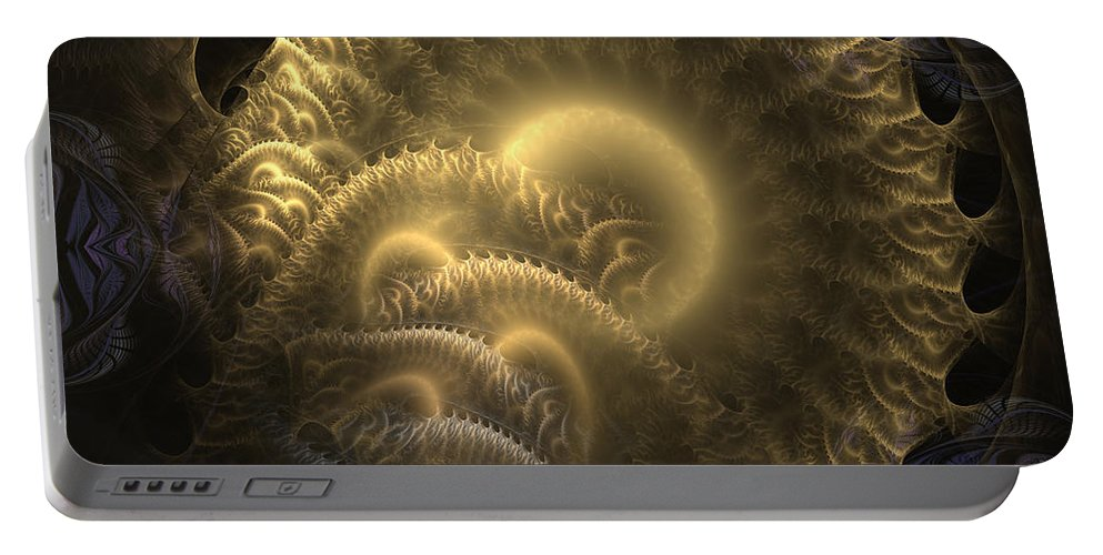 Abstract Portable Battery Charger featuring the digital art Aureate-2 by Casey Kotas