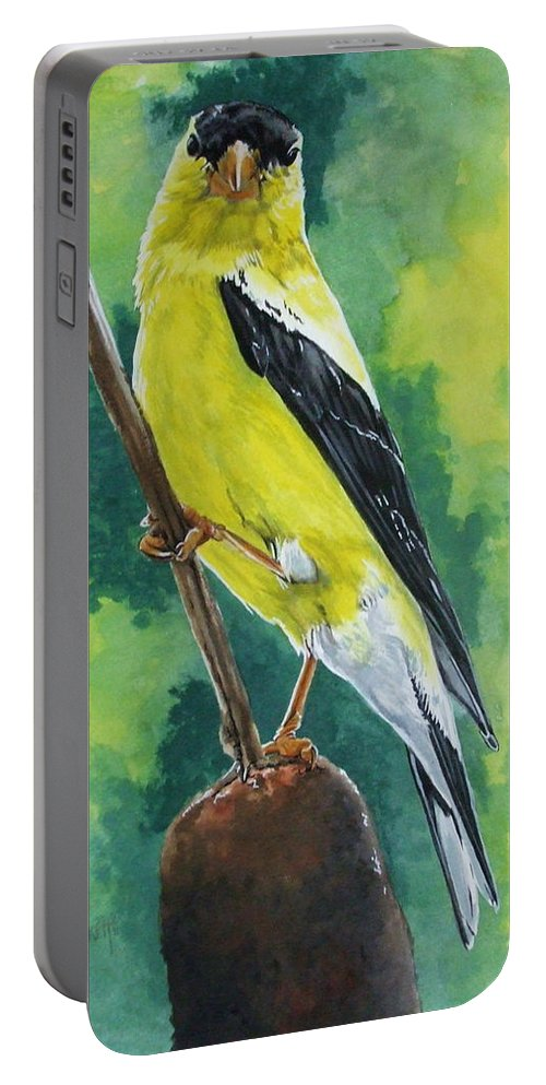 Common Bird Portable Battery Charger featuring the painting Aureate by Barbara Keith
