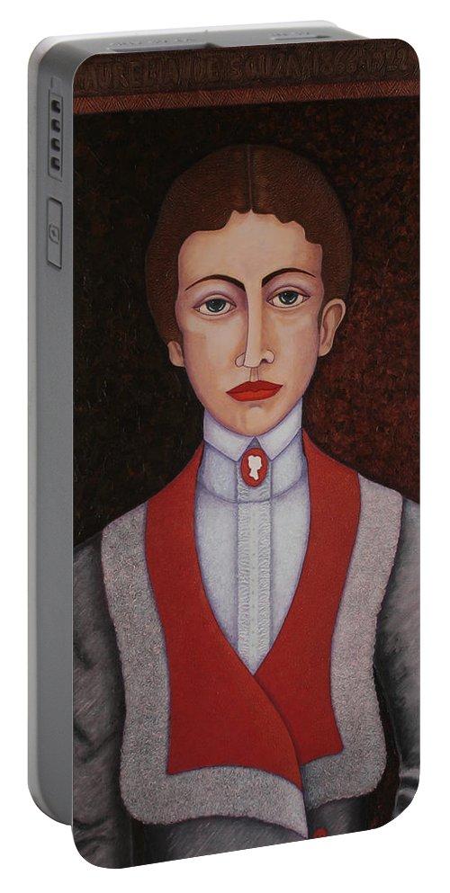 Aurelia De Sousa Portable Battery Charger featuring the painting Aurelia De Sousa - The Narrative Of The Silent House by Madalena Lobao-Tello
