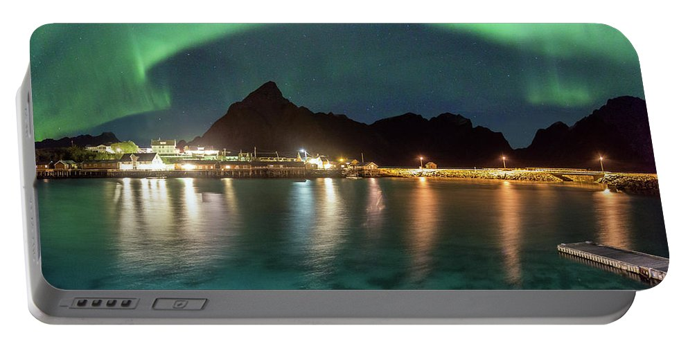 Aurora Portable Battery Charger featuring the photograph Aurora Above Turquoise Waters by Alex Conu