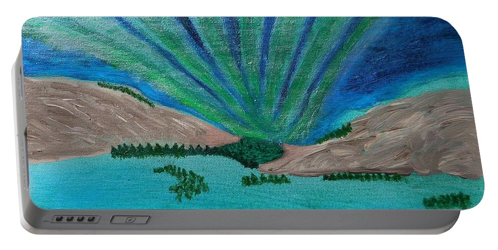 Northern Lights Portable Battery Charger featuring the painting Aurora Borealis by Tember Smith