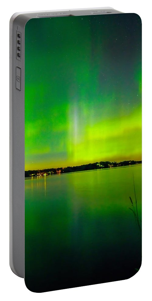 Aurora Portable Battery Charger featuring the photograph Aurora Reflection by Lowlight Images